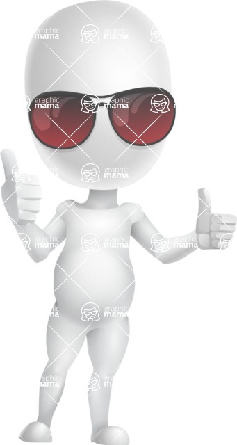 Vector 3D Business Cartoon Character AKA Plumpy - Sunglasses