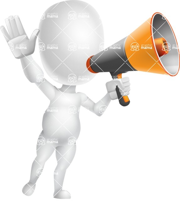 Vector 3D Business Cartoon Character AKA Plumpy - Loudspeaker