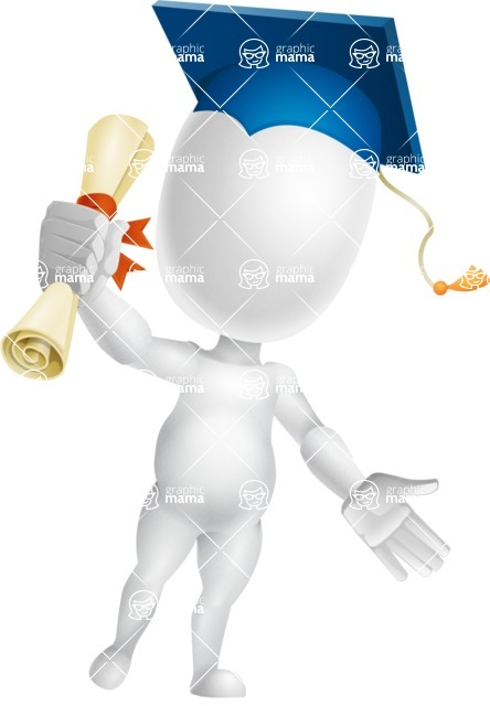 Vector 3D Business Cartoon Character AKA Plumpy - Graduation