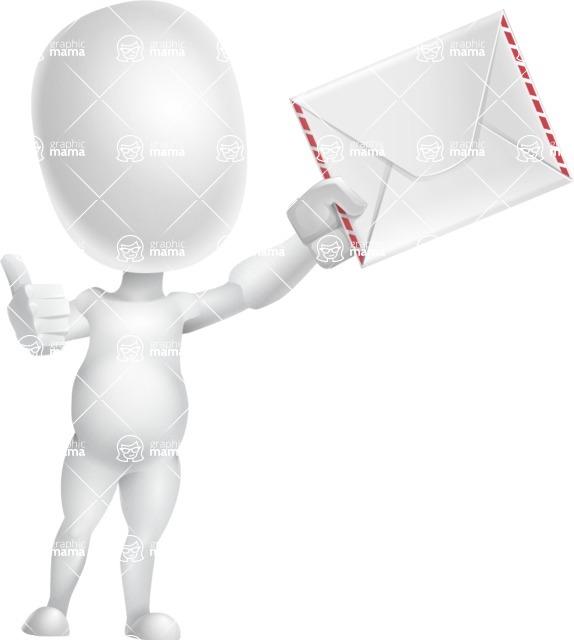 Vector 3D Business Cartoon Character AKA Plumpy - Letter