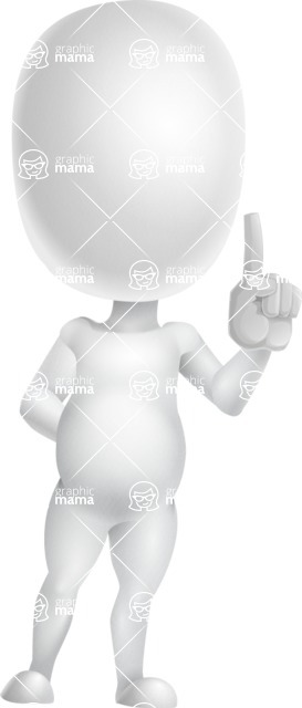 Vector 3D Business Cartoon Character AKA Plumpy - Attention