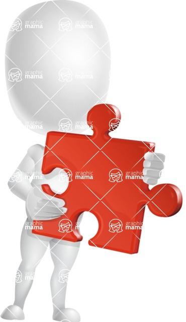 Vector 3D Business Cartoon Character AKA Plumpy - Puzzle