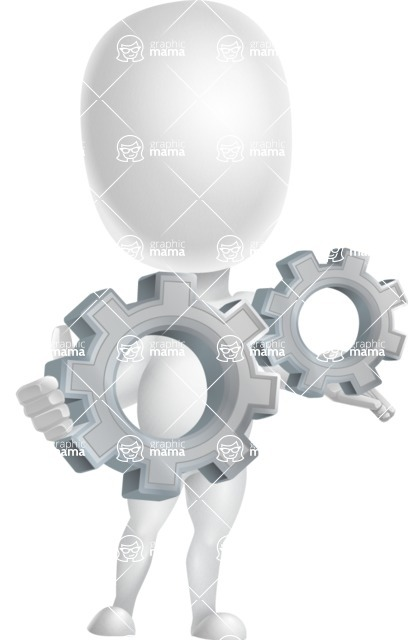 Vector 3D Business Cartoon Character AKA Plumpy - Gears