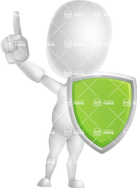 Vector 3D Business Cartoon Character AKA Plumpy - Shield