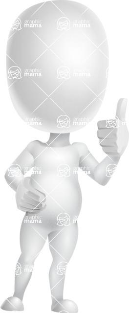 Vector 3D Business Cartoon Character AKA Plumpy - Thumbs Up