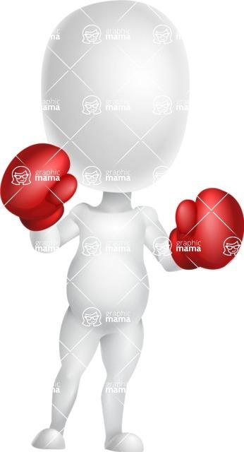 Vector 3D Business Cartoon Character AKA Plumpy - Boxing