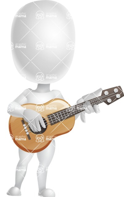Vector 3D Business Cartoon Character AKA Plumpy - Musician