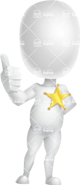 Vector 3D Business Cartoon Character AKA Plumpy - Sheriff