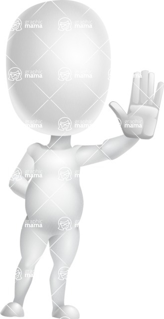 Vector 3D Business Cartoon Character AKA Plumpy - Wave