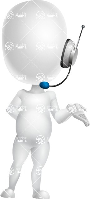 Vector 3D Business Cartoon Character AKA Plumpy - Support 2