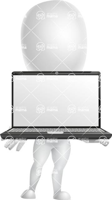 Vector 3D Business Cartoon Character AKA Plumpy - Laptop 1