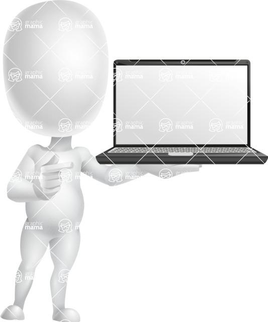 Vector 3D Business Cartoon Character AKA Plumpy - Laptop 2