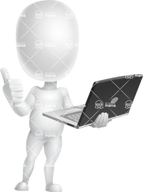 Vector 3D Business Cartoon Character AKA Plumpy - Laptop 3