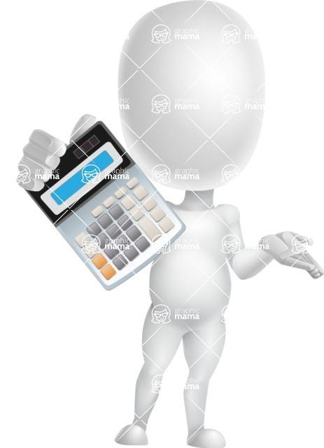 Vector 3D Business Cartoon Character AKA Plumpy - Calculator