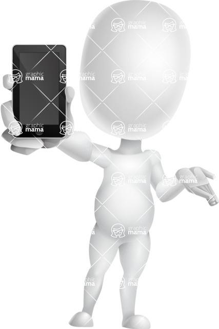 Vector 3D Business Cartoon Character AKA Plumpy - iPhone