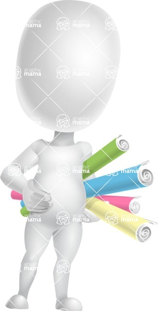 Vector 3D Business Cartoon Character AKA Plumpy - Papers