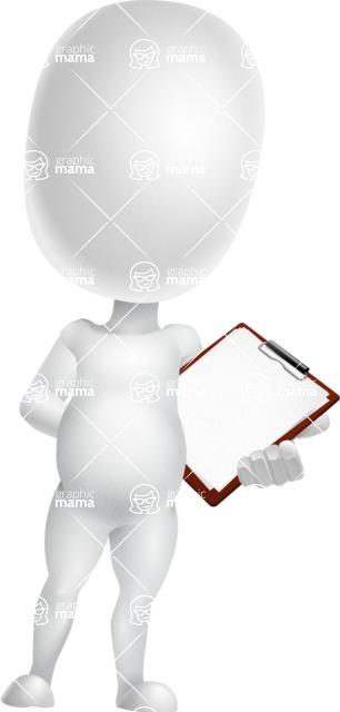 Vector 3D Business Cartoon Character AKA Plumpy - Notepad 2