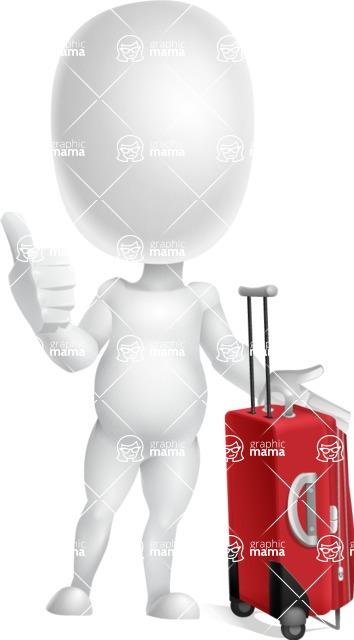Vector 3D Business Cartoon Character AKA Plumpy - Travel