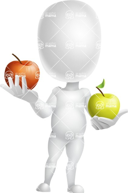 Vector 3D Business Cartoon Character AKA Plumpy - Apples