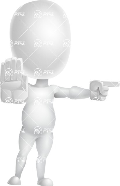Vector 3D Business Cartoon Character AKA Plumpy - Direct Attention