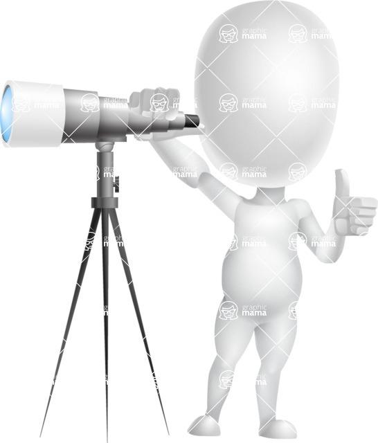 Vector 3D Business Cartoon Character AKA Plumpy - Telescope