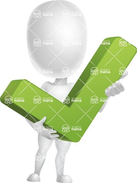 Vector 3D Business Cartoon Character AKA Plumpy - Check