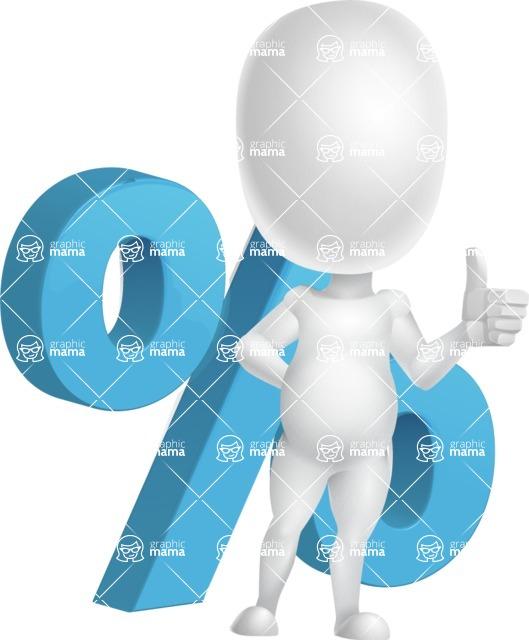 Vector 3D Business Cartoon Character AKA Plumpy - Percent
