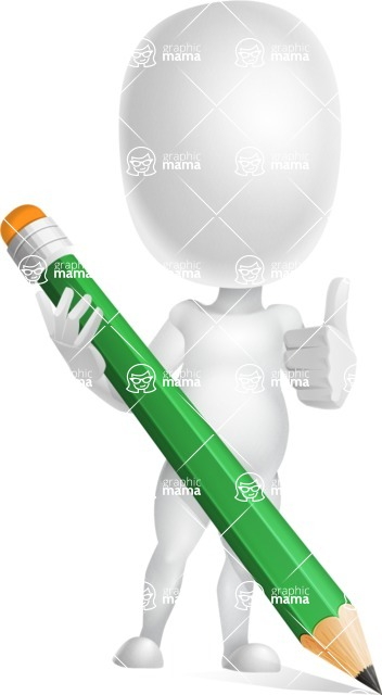 Vector 3D Business Cartoon Character AKA Plumpy - Pencil