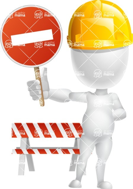 Vector 3D Business Cartoon Character AKA Plumpy - Under Construction