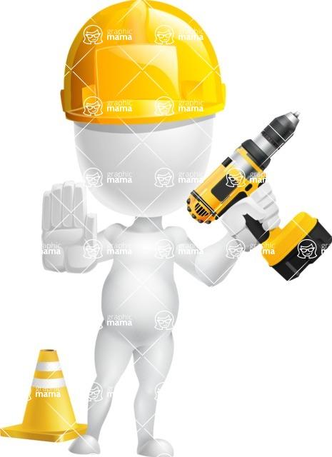 Vector 3D Business Cartoon Character AKA Plumpy - Under Construction 2