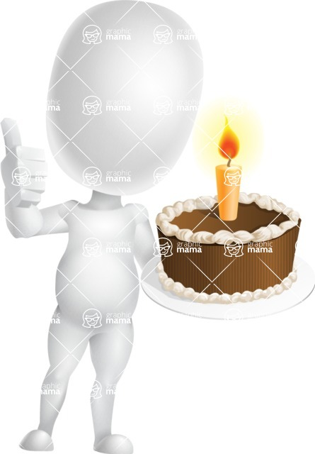 Vector 3D Business Cartoon Character AKA Plumpy - Cake
