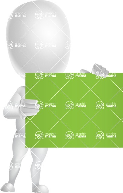 Vector 3D Business Cartoon Character AKA Plumpy - Sign 2