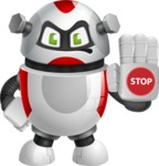 Smart Robot Cartoon Vector Character AKA Chubbydroid 3000 - Stop