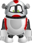 Smart Robot Cartoon Vector Character AKA Chubbydroid 3000 - Sad