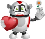 Smart Robot Cartoon Vector Character AKA Chubbydroid 3000 - Love