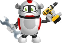 Smart Robot Cartoon Vector Character AKA Chubbydroid 3000 - Workman 1