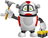 Smart Robot Cartoon Vector Character AKA Chubbydroid 3000 - Workman 2