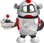 Smart Robot Cartoon Vector Character AKA Chubbydroid 3000 - Joystick