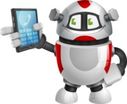 Smart Robot Cartoon Vector Character AKA Chubbydroid 3000 - Phone