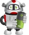 Smart Robot Cartoon Vector Character AKA Chubbydroid 3000 - Battery