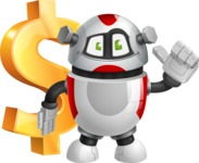 Smart Robot Cartoon Vector Character AKA Chubbydroid 3000 - Dollar