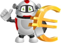 Smart Robot Cartoon Vector Character AKA Chubbydroid 3000 - Euro