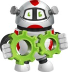 Smart Robot Cartoon Vector Character AKA Chubbydroid 3000 - Gears