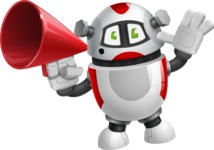 Smart Robot Cartoon Vector Character AKA Chubbydroid 3000 - Loudspeaker
