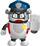 Smart Robot Cartoon Vector Character AKA Chubbydroid 3000 - Policeman