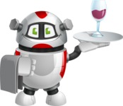 Smart Robot Cartoon Vector Character AKA Chubbydroid 3000 - Waiter