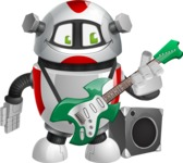 Smart Robot Cartoon Vector Character AKA Chubbydroid 3000 - Musician