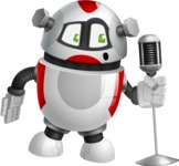 Smart Robot Cartoon Vector Character AKA Chubbydroid 3000 - Singer