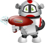 Smart Robot Cartoon Vector Character AKA Chubbydroid 3000 - Gun 2