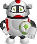Smart Robot Cartoon Vector Character AKA Chubbydroid 3000 - Soccer